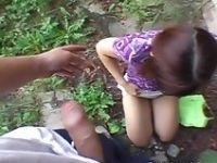 Cute Schoolgirl Forced to Suck Cock in the School Backyard